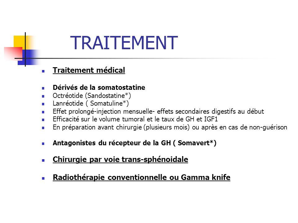 TRAITEMENT Traitement médical Chirurgie par voie trans-sphénoidale