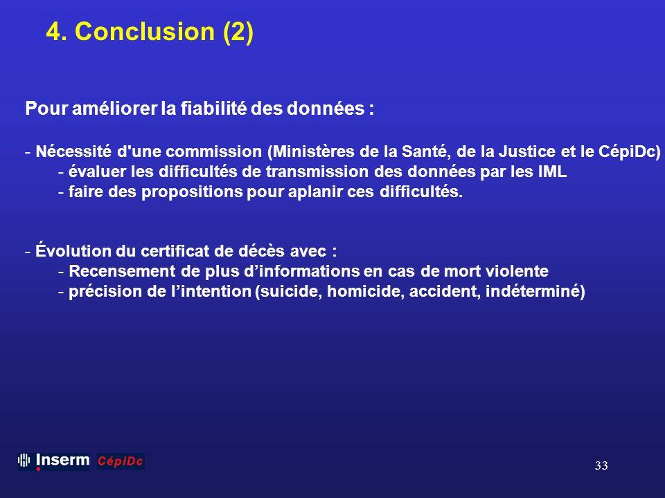 4. Conclusion (2) Pour améliorer la fiabilité des données :
