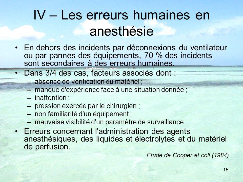 IV – Les erreurs humaines en anesthésie