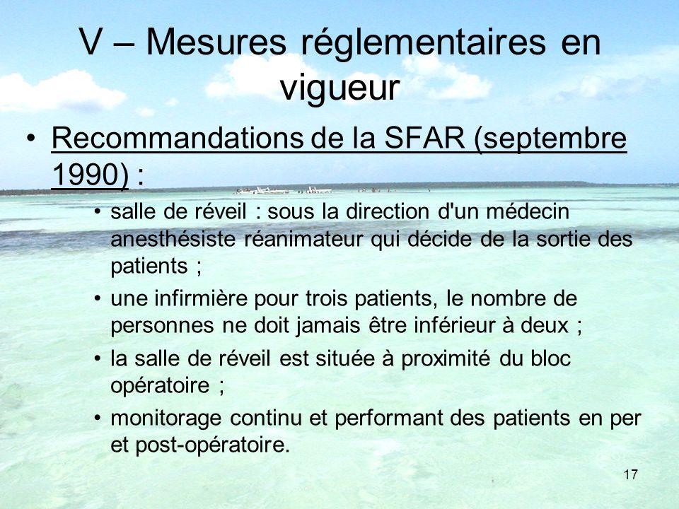 V – Mesures réglementaires en vigueur