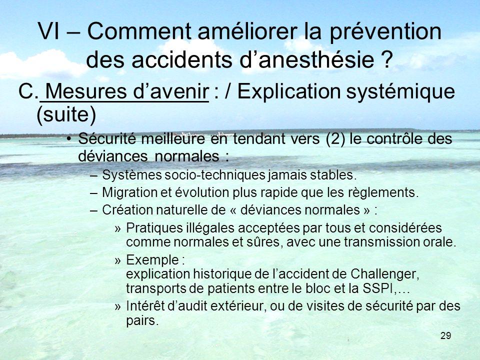 VI – Comment améliorer la prévention des accidents d'anesthésie