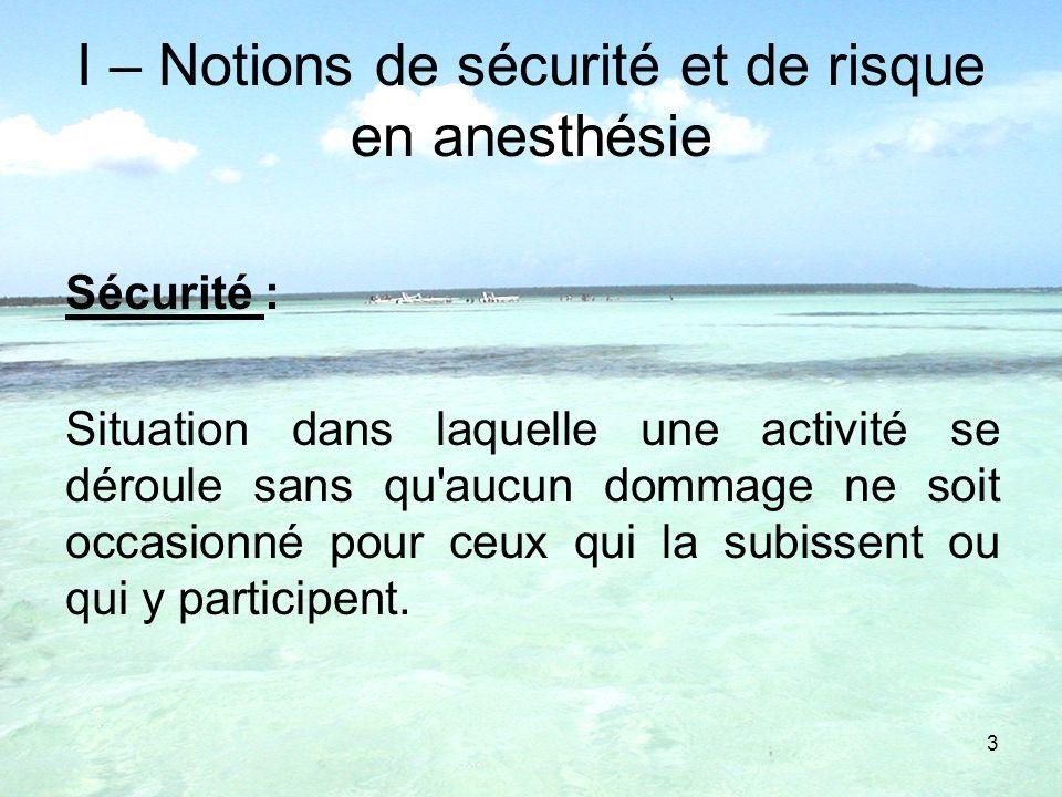 I – Notions de sécurité et de risque en anesthésie
