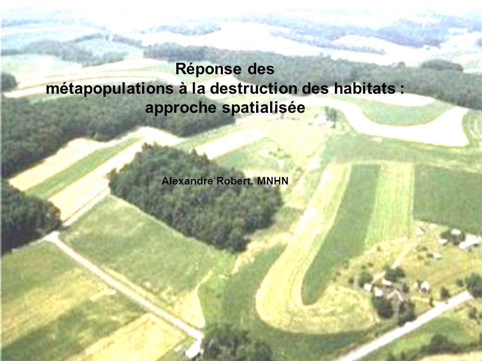 Réponse des métapopulations à la destruction des habitats : approche spatialisée