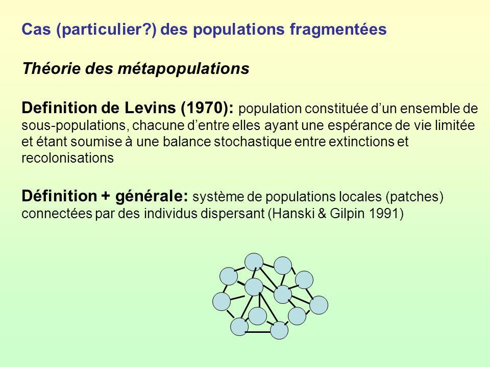 Cas (particulier ) des populations fragmentées