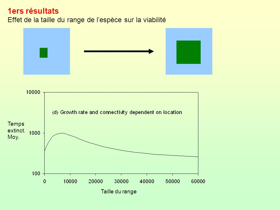 1ers résultats Effet de la taille du range de l'espèce sur la viabilité.