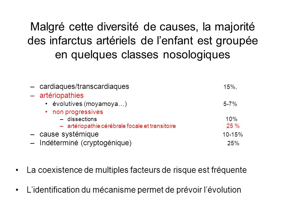 Malgré cette diversité de causes, la majorité des infarctus artériels de l'enfant est groupée en quelques classes nosologiques