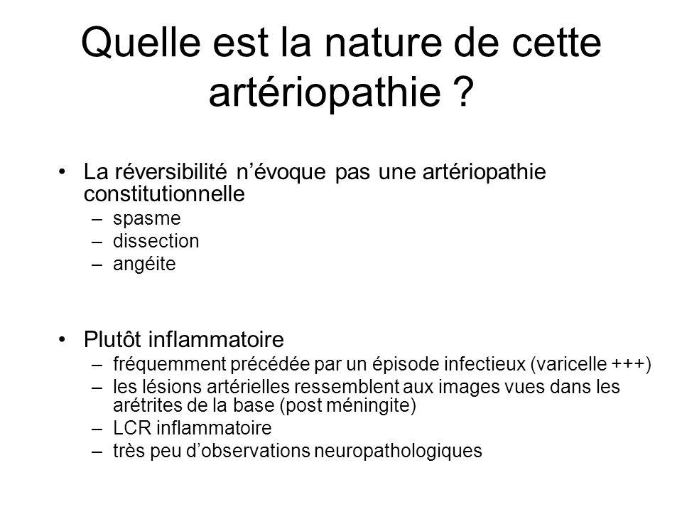 Quelle est la nature de cette artériopathie