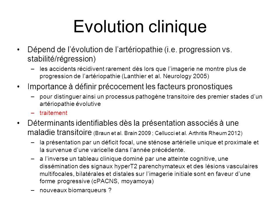 Evolution clinique Dépend de l'évolution de l'artériopathie (i.e. progression vs. stabilité/régression)
