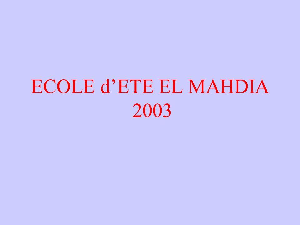 ECOLE d'ETE EL MAHDIA 2003