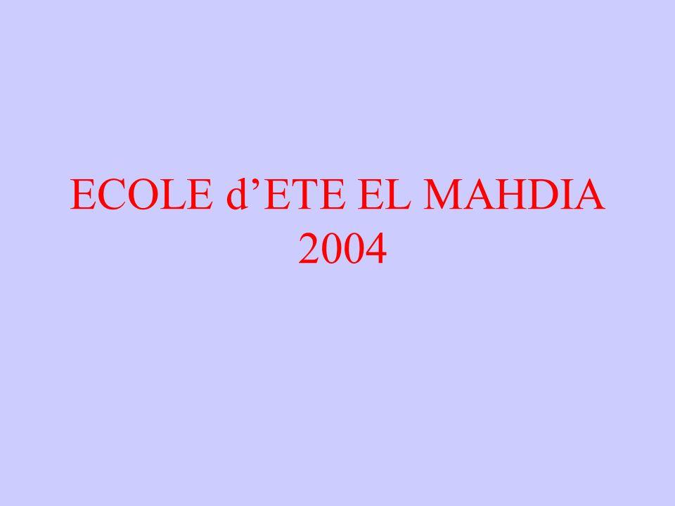 ECOLE d'ETE EL MAHDIA 2004