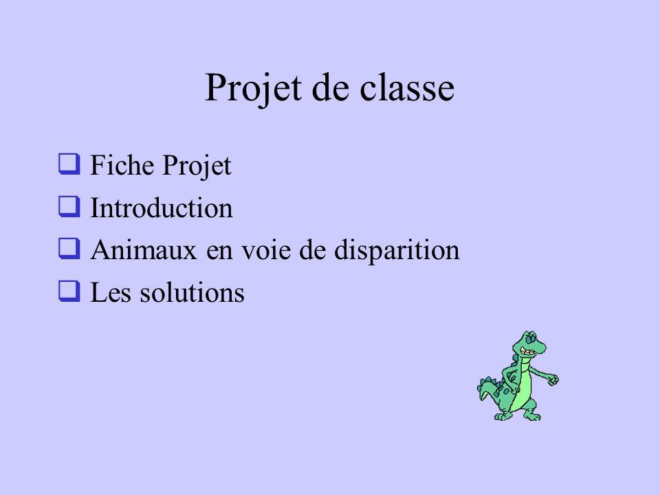 Projet de classe Fiche Projet Introduction