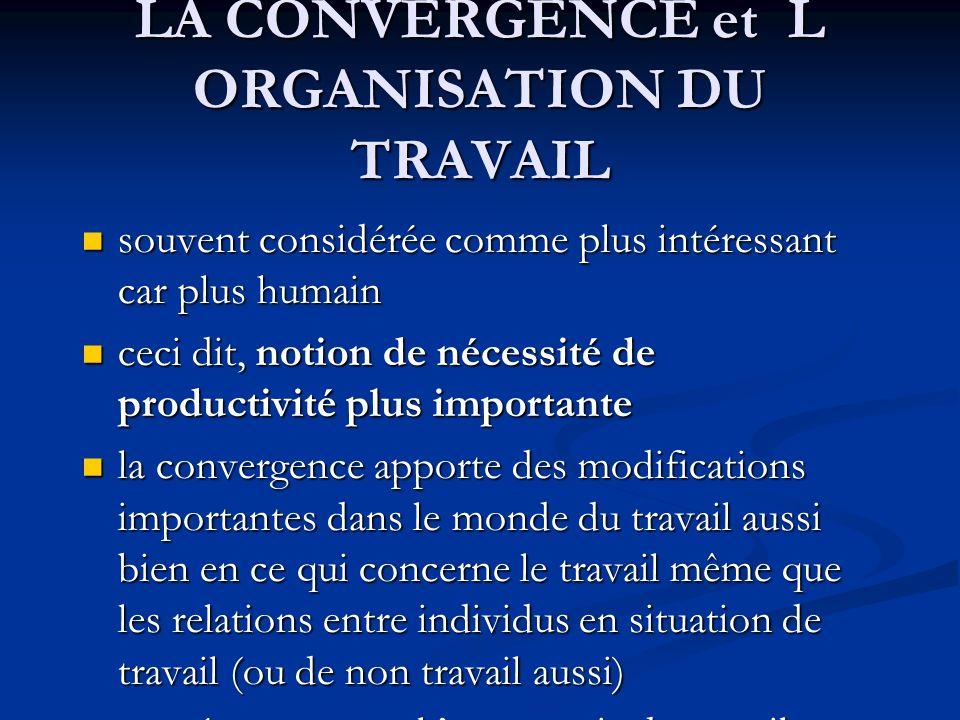 LA CONVERGENCE et L ORGANISATION DU TRAVAIL