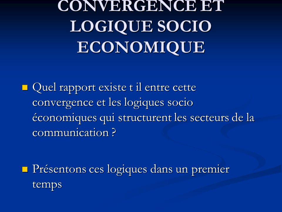 CONVERGENCE ET LOGIQUE SOCIO ECONOMIQUE