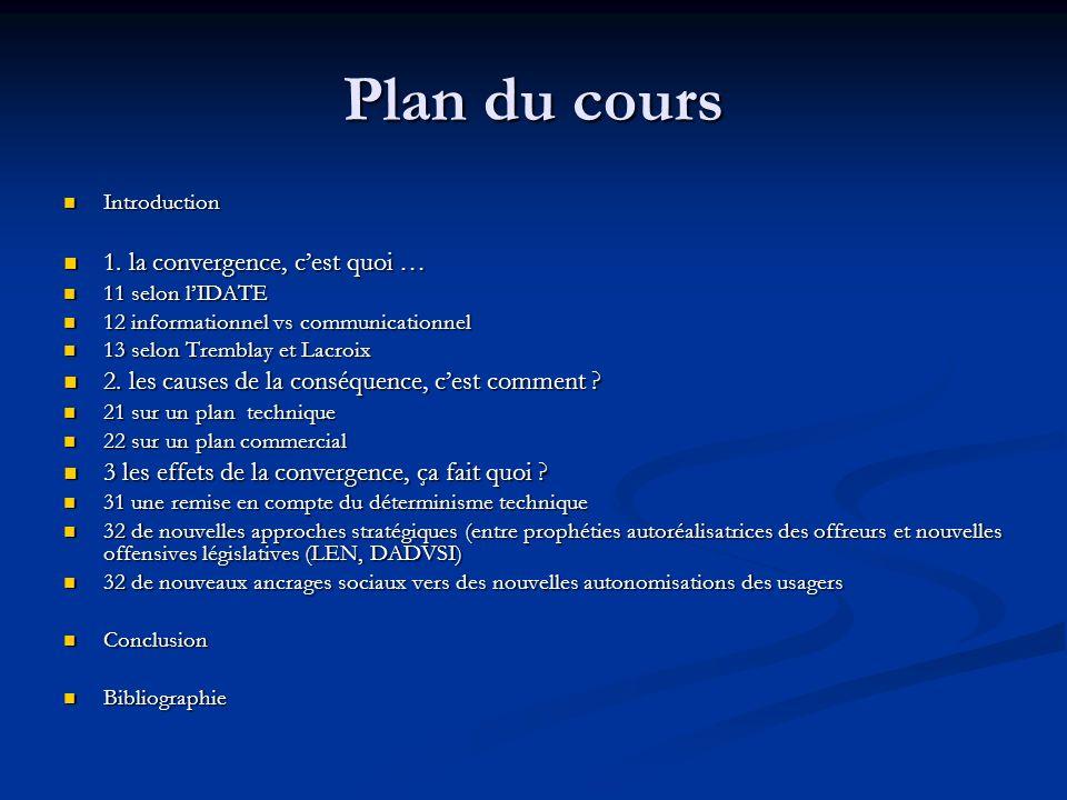 Plan du cours 1. la convergence, c'est quoi …