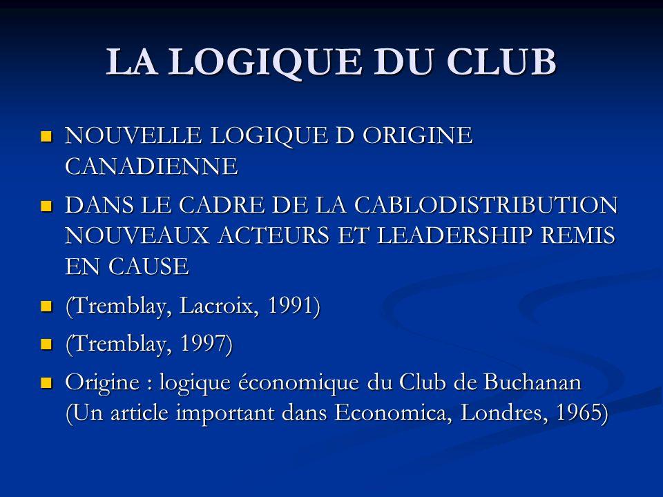 LA LOGIQUE DU CLUB NOUVELLE LOGIQUE D ORIGINE CANADIENNE