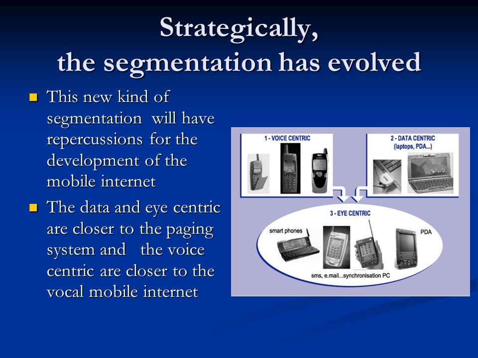 Strategically, the segmentation has evolved