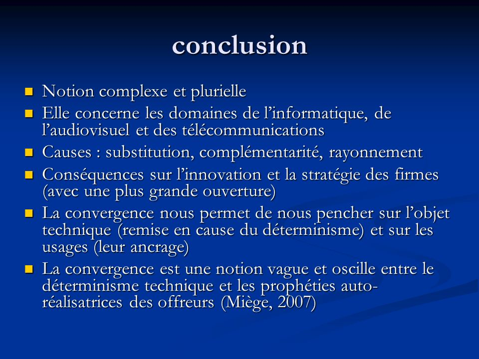 conclusion Notion complexe et plurielle