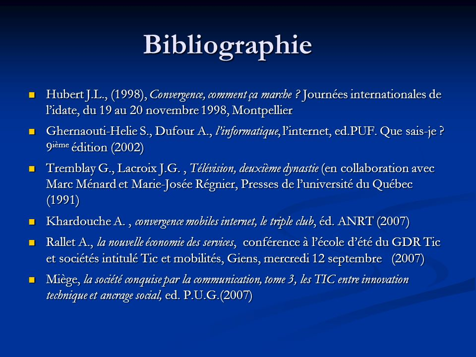 Bibliographie Hubert J.L., (1998), Convergence, comment ça marche Journées internationales de l'idate, du 19 au 20 novembre 1998, Montpellier 