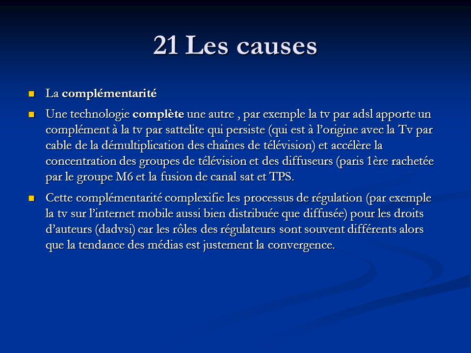 21 Les causes La complémentarité