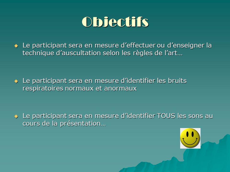 Objectifs Le participant sera en mesure d'effectuer ou d'enseigner la technique d'auscultation selon les règles de l'art…