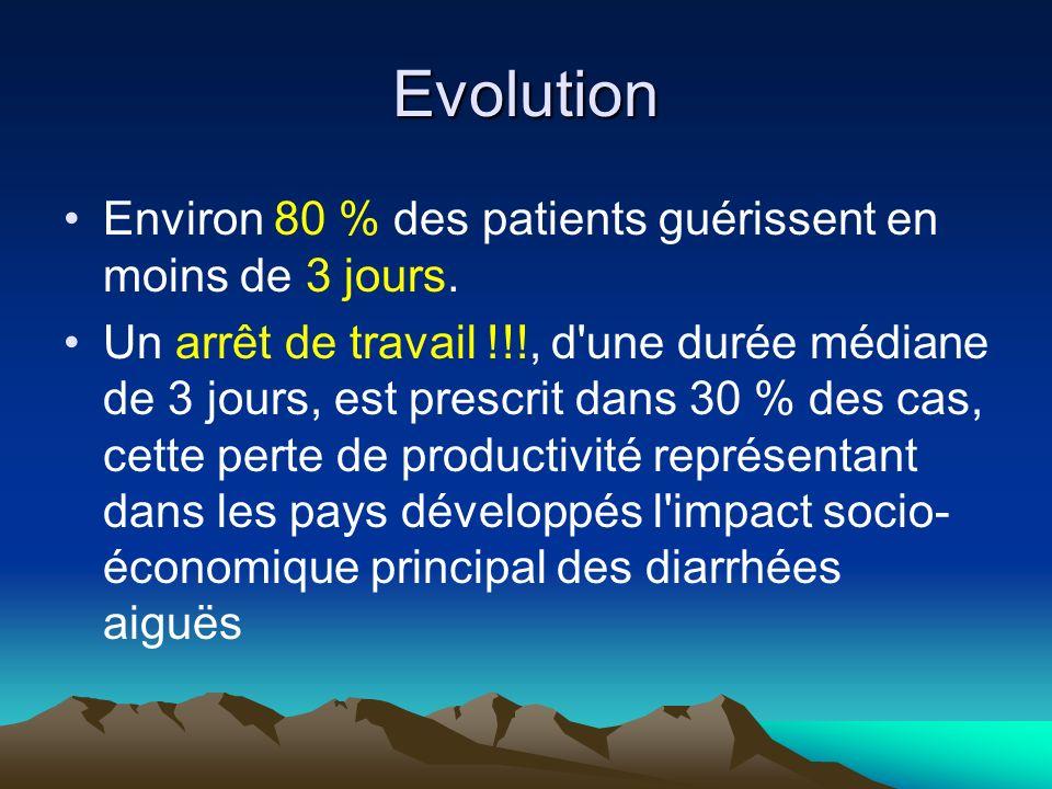 Evolution Environ 80 % des patients guérissent en moins de 3 jours.