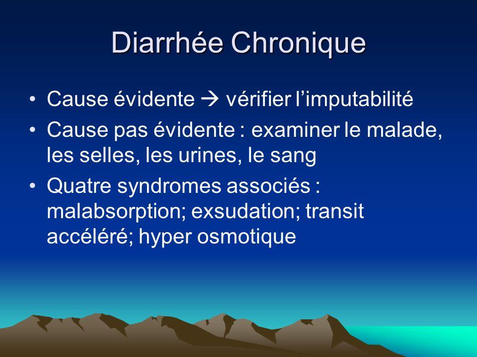 Diarrhée Chronique Cause évidente  vérifier l'imputabilité