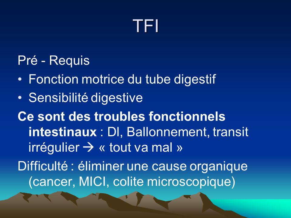 TFI Pré - Requis Fonction motrice du tube digestif