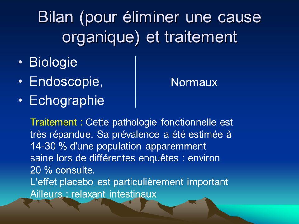 Bilan (pour éliminer une cause organique) et traitement