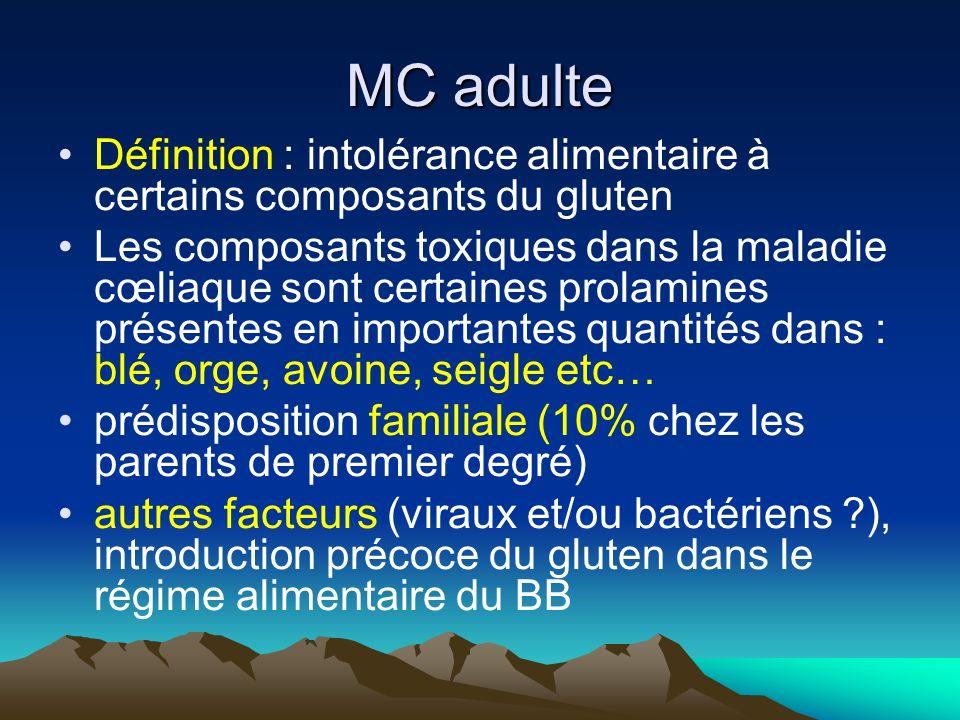 MC adulte Définition : intolérance alimentaire à certains composants du gluten.