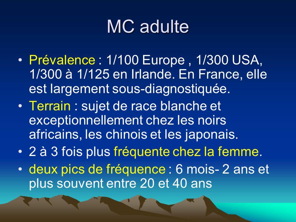 MC adulte Prévalence : 1/100 Europe , 1/300 USA, 1/300 à 1/125 en Irlande. En France, elle est largement sous-diagnostiquée.
