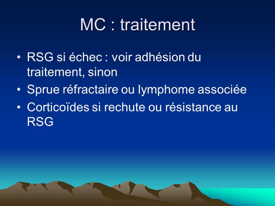 MC : traitement RSG si échec : voir adhésion du traitement, sinon