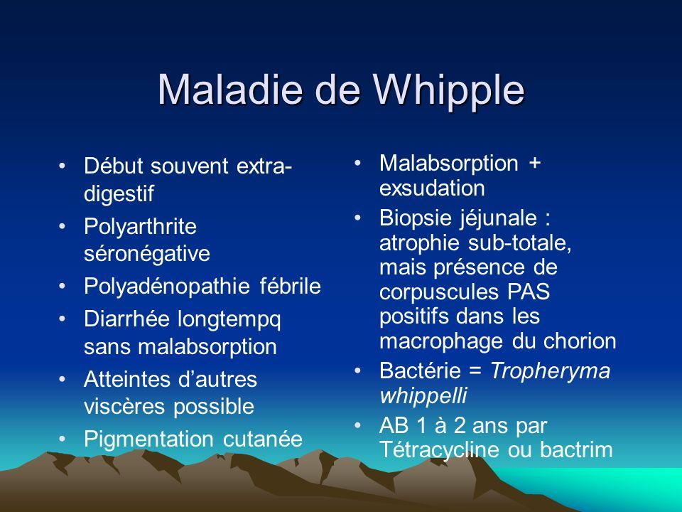Maladie de Whipple Début souvent extra-digestif