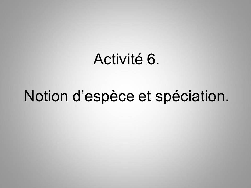 Activité 6. Notion d'espèce et spéciation.