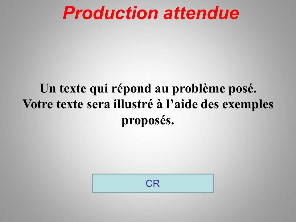 Production attendue Un texte qui répond au problème posé.