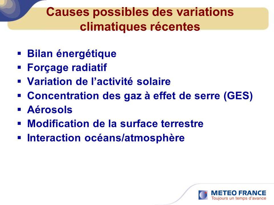 Causes possibles des variations climatiques récentes