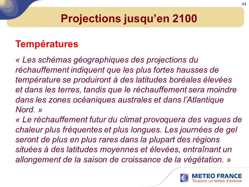 Projections jusqu'en 2100 Températures