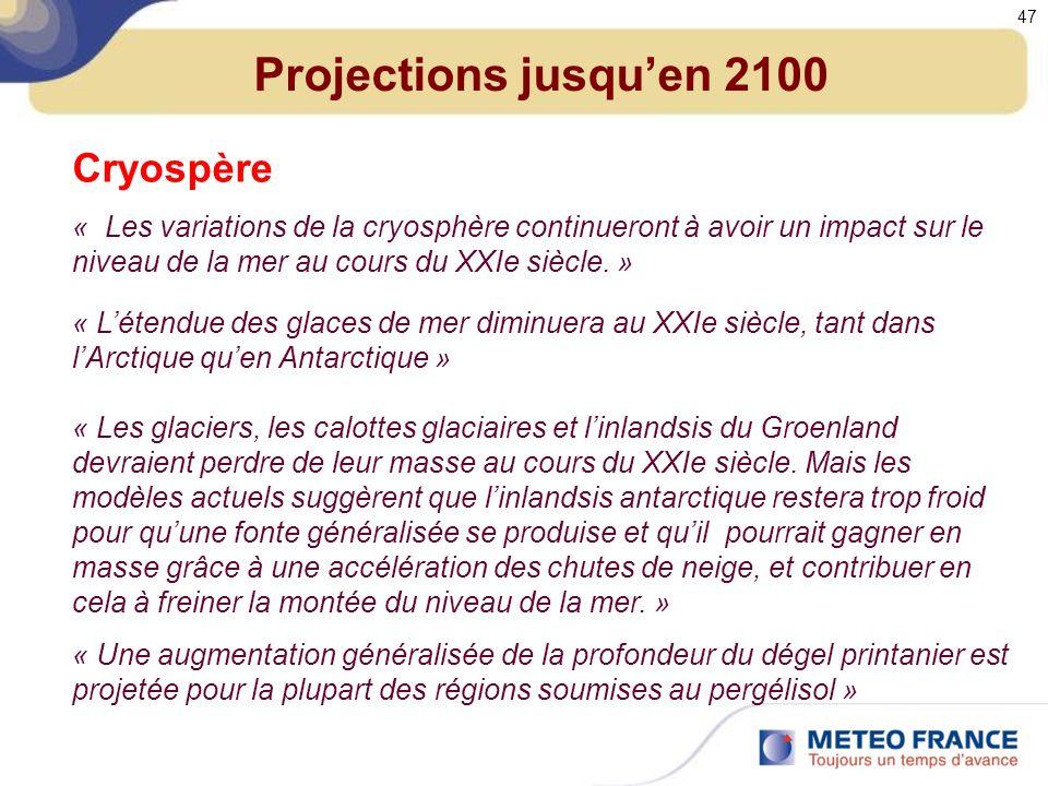 Projections jusqu'en 2100 Cryospère