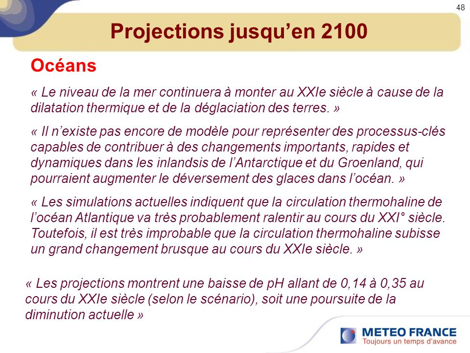 Projections jusqu'en 2100 Océans