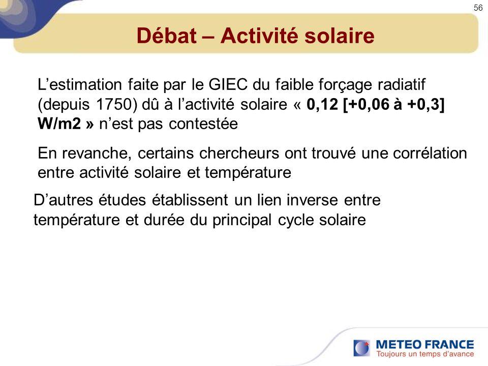 Débat – Activité solaire