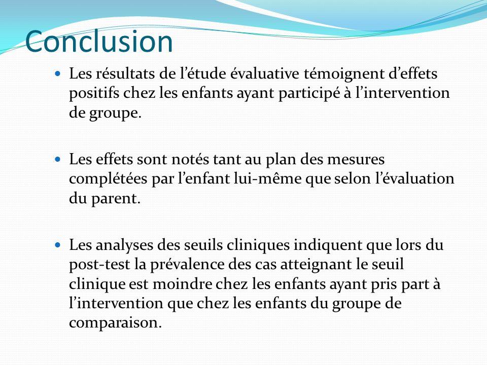 Conclusion Les résultats de l'étude évaluative témoignent d'effets positifs chez les enfants ayant participé à l'intervention de groupe.