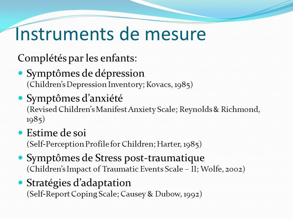 Instruments de mesure Complétés par les enfants: