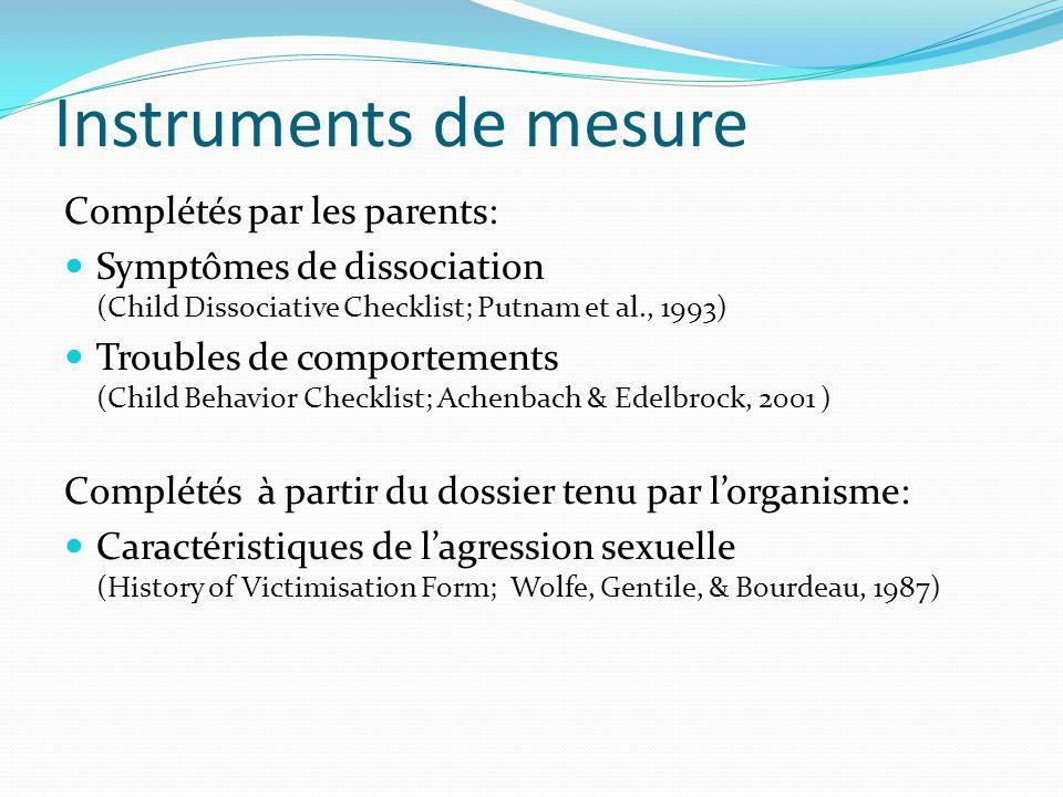 Instruments de mesure Complétés par les parents: