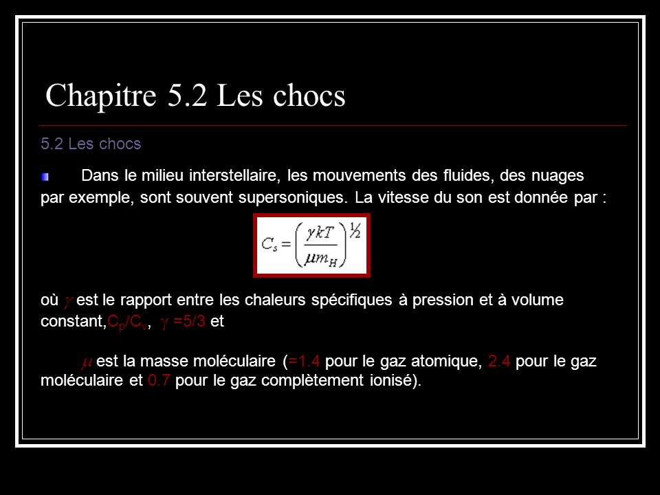 Chapitre 5.2 Les chocs 5.2 Les chocs