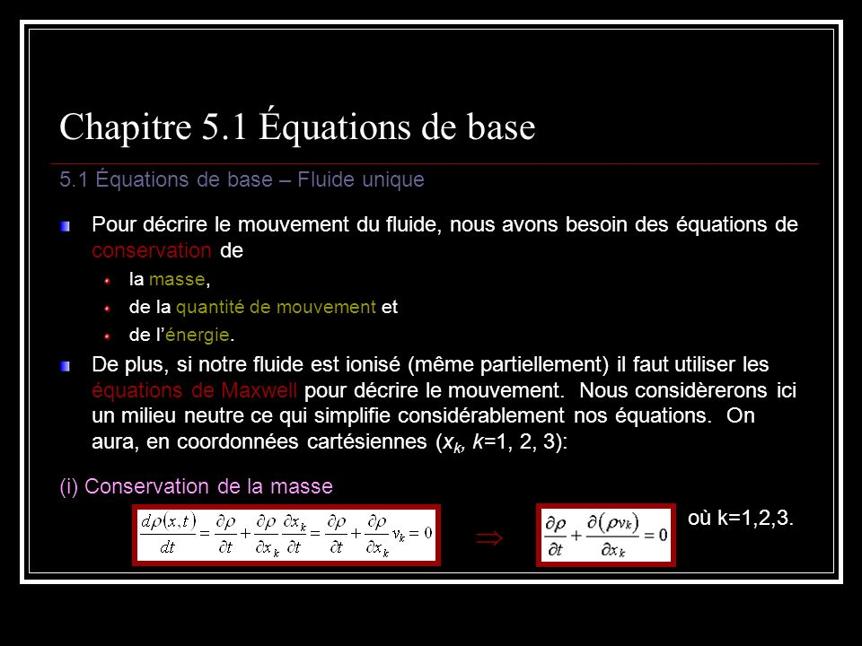 Chapitre 5.1 Équations de base