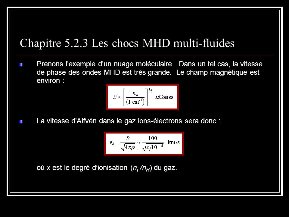 Chapitre 5.2.3 Les chocs MHD multi-fluides