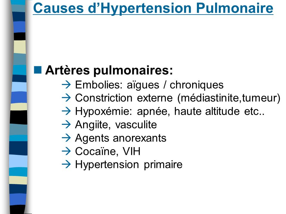Causes d'Hypertension Pulmonaire