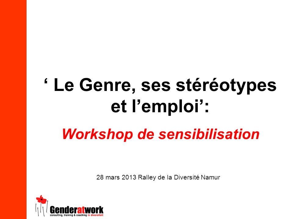 ' Le Genre, ses stéréotypes et l'emploi': Workshop de sensibilisation