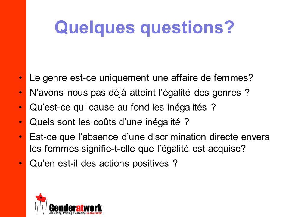 Quelques questions Le genre est-ce uniquement une affaire de femmes