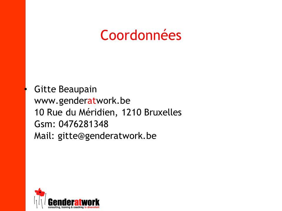 Coordonnées Gitte Beaupain www.genderatwork.be