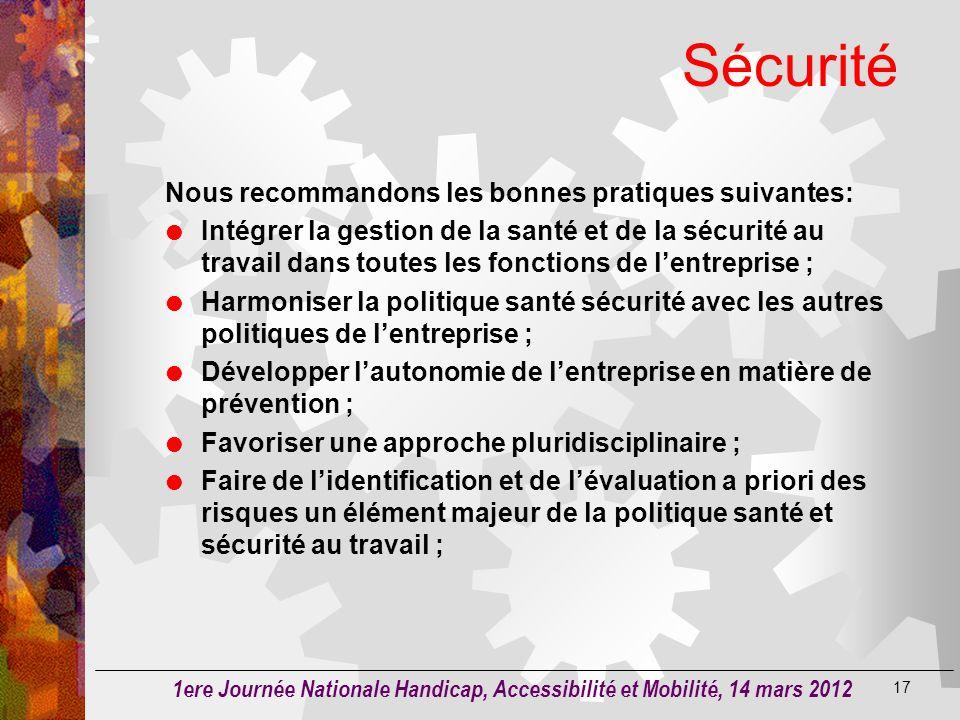 Sécurité Nous recommandons les bonnes pratiques suivantes: